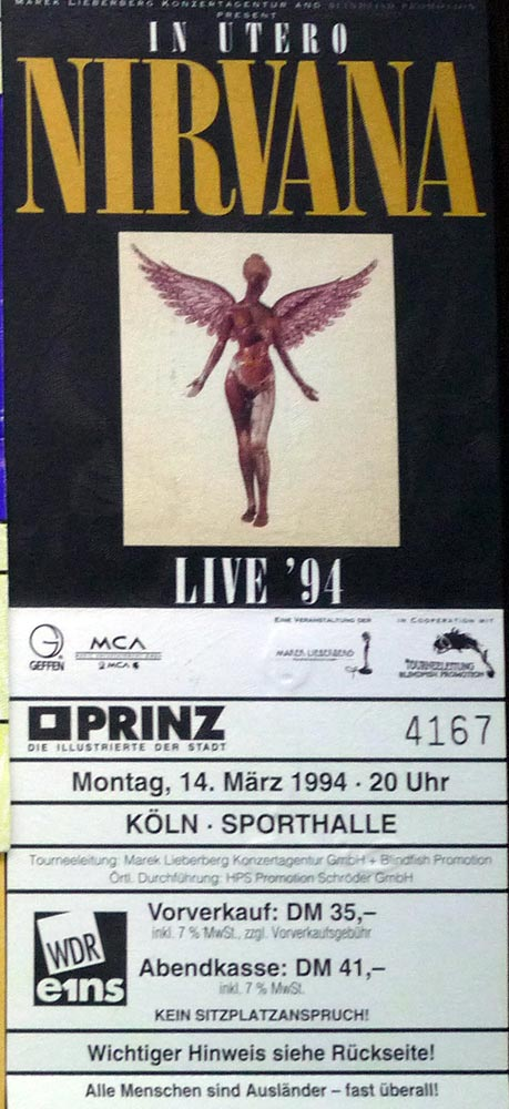 Nirvana Ticket 1994